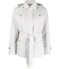 herno belted shirt jacket - grey
