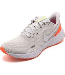 tenis running beige-blanco-naranja nike revolution 5