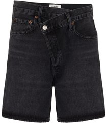 agolde wrap-waist denim shorts - black