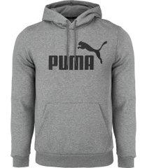blusão de moletom com capuz puma ess hoody fl big logo - masculino - cinza