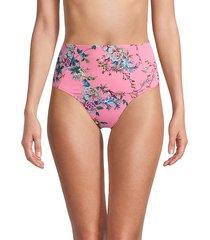 malakey floral high-rise bikini bottoms