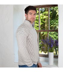 men's kinnagoe aran sweater gray xxl