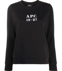 a.p.c. logo-print cotton sweatshirt - black