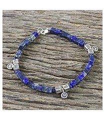 lapis lazuli beaded bracelet, 'indigo love' (thailand)