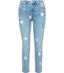 women's blanknyc madison star embroidered high waist crop skinny jeans, size 30 - blue