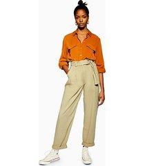 belted menswear style trousers - khaki