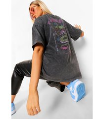 acid wash gebleekt oversized fearless t-shirt met rugopdruk, charcoal