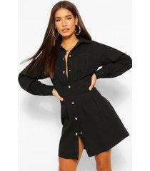 geplooide blouse jurk met knopen, zwart