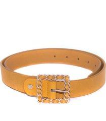 cinturon hebilla cadena amarillo mailea