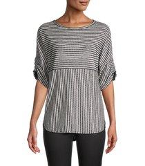 max studio women's rouched sleeve stripe top - black ecru - size xs