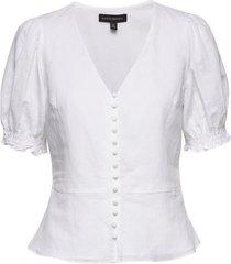 linen-cotton peplum top blouses short-sleeved vit banana republic