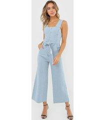 macacã£o jeans mob pantacourt botãµes azul - azul - feminino - algodã£o - dafiti