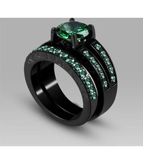 14k black gold over green emerald & lab created diamond bridal ring set