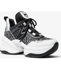 mk sneaker olympia in pelle con glitter - nero/argento (argento) - michael kors