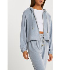 river island womens grey velour lounge long sleeve hoodie