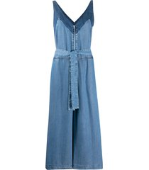 diesel contrast-panel cropped denim jumpsuit - blue