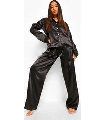 petite satijnen oversized pyjama set met lange mouwen, black