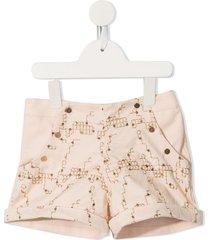 velveteen carmen button-front shorts - orange