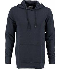 minimum zachte blauwe slim fit sweater hoodie - valt 1 maat kleiner