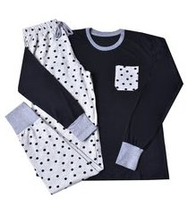 pijama manga longa malha it mom - preto