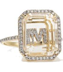 14-karat gold, crystal and diamond ring
