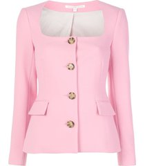 veronica beard square neck button up jacket - pink