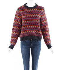 burberry geometric wool mohair knit sweater multicolor sz: xl