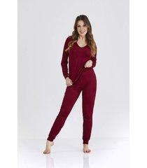 pijama vinho sienna cloã¡ - multicolorido - feminino - dafiti