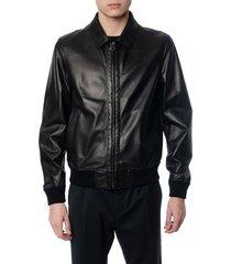 salvatore ferragamo black leather down jacket