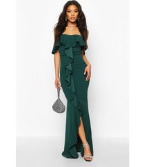bardot ruffle front maxi dress, bottle green