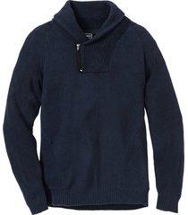 maglione con collo a scialle e cotone riciclato (blu) - rainbow