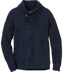 pullover con collo a scialle e cotone riciclato regular fit (blu) - rainbow
