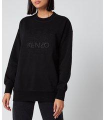 kenzo women's embossed loose sweatshirt - black - l