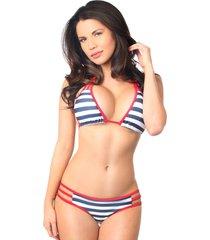 nautical striped pucker back strappy bikini