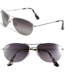 women's maui jim baby beach 56mm polarizedplus2 aviator sunglasses - silver/ neutral grey