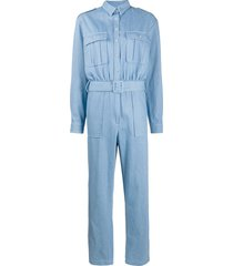 andamane patch-pocket belted jumsuit - blue