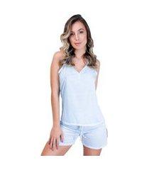 pijama mvb modas curto adulto blusa e short com laço azul