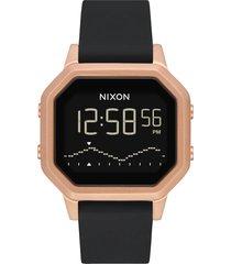 nixon siren digital watch, 36mm in black/rose gold at nordstrom