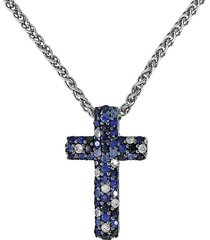 sterling silver, white & blue sapphire cross pendant necklace