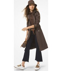 mk trench in tessuto cerato con mini stampa logo - cioccolato (marrone) - michael kors