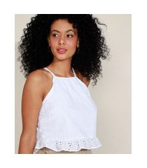top cropped de laise feminino halter neck off white