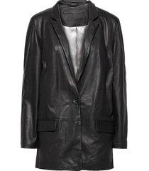 coco thin leather blazer blazers casual blazers zwart mdk / munderingskompagniet