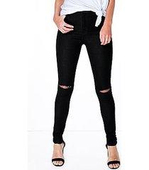 lara high waist stretch basic tube jeans