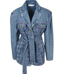 philosophy di lorenzo serafini belted waist denim jacket
