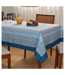 toalha de mesa retangular estampado maré 155x250cm lepper turquesa