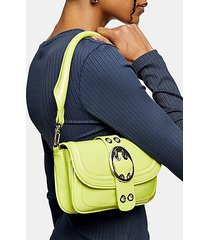 patent lime green oval buckle shoulder bag - lime
