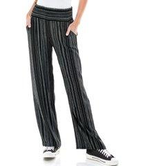 kingston grey juniors' printed smocked wide-leg pants