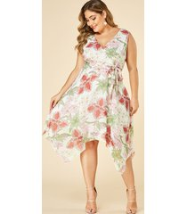 yoins plus talla blanca estampado floral cuello en v vestido