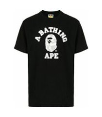a bathing ape® camiseta camo college - preto