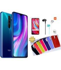 celular xiaomi redmi note 8 pro 128gb 6gb ram azul + vidrio + audifonos xiaomi + silicone case